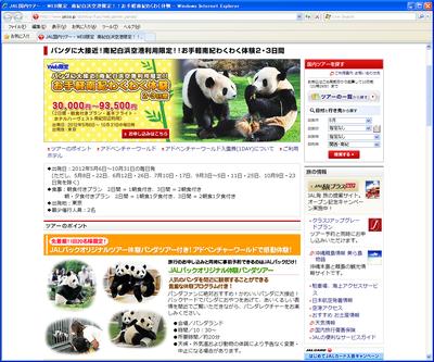 パンダに餌やりができるJALパックのツアー(東京発)